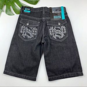 New Southpole Black Denim Jean Shorts Bermuda 12